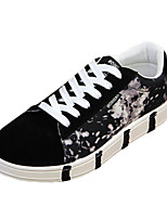 Men's Sneakers Spring Fall Comfort Fabric Casual Flat Heel Lace-up Blue Black and Red Black and White Walking