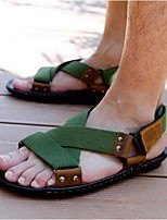 Men's Sandals Summer Canvas Casual Flat Heel Others Black Green Others