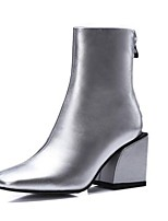 Women's Boots Fall Combat Boots Leather Outdoor Chunky Heel Others Black / Silver Others
