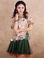 Our Story Women's Print Green SkirtsVintage Above Knee