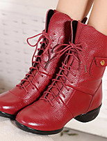 Non Customizable Women's Dance Shoes Leather Leather Jazz Heels Chunky Heel Performance Black / Red