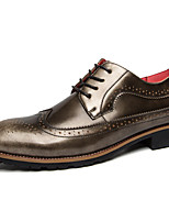 Men's Oxfords Spring/Summer/Fall/Winter Comfort Patent Leather Office & Career / Casual Chunky Heel Black/Gold