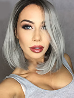 2016 New Grey Ombre hair Black to gray Synthetic Lace Front Wig Bob wigs