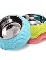 Cat / Dog Bowls & Water Bottles Pet Bowls & Feeding Portable Green / Blue / Pink Plastic / Stainless Steel