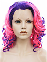IMSTYLE 16Pink-Blue Ombre Curly Synthetic Lace Front Wigs
