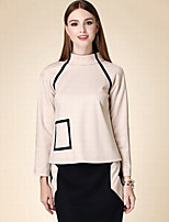 DOF Women's Casual/Daily Cute Fall T-shirtSolid Square Neck Long Sleeve Pink Cotton Medium