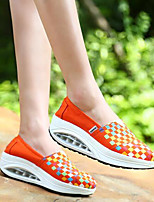 Women's Loafers & Slip-Ons Summer Comfort Canvas Outdoor Flat Heel Plaid Green Red White Royal Blue Walking