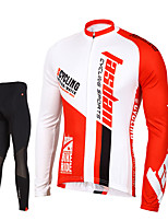 TASDAN® Cycling Jersey with Tights Men's Long Sleeve BikeBreathable / Quick Dry / Front Zipper / Compression / 3D Pad / Reflective Strips