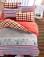 Bedtoppings Comforter Duvet Quilt Cover 4pcs Set Queen Size Flat Sheet Pillowcase Stripe Cheque Pattern Prints Microfiber