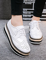 Women's Flats Spring / Summer / Fall Comfort Leather Casual Flat Heel Others Black / White Walking