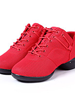 Non Customizable Women's Dance Shoes Synthetic Synthetic Dance Sneakers Sneakers Flat Heel Practice Black / Red