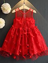 Vestido Chica de-Casual/Diario-Un Color-Poliéster-Verano-Rojo