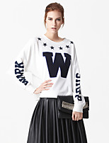 Women's Casual/Daily Simple Regular HoodiesLetter White/Black Round Neck Long Sleeve Cotton/Polyester Spring / Fall