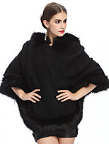 Women's Wrap Capes Sleeveless Sweater Black / Almond Party/Evening / Casual V-neck 42cm Feathers / fur Pullover