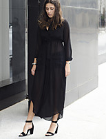 Women's Casual/Daily Simple Chiffon Dress Deep V Maxi Long Sleeve Black Polyester High Rise Inelastic Thin