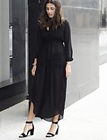 Mousseline de Soie Robe Femme Décontracté / Quotidien simple,Couleur Pleine V Profond Maxi Manches Longues Noir PolyesterToutes les