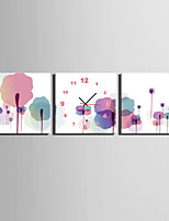 MINI SIZE E-HOME The Woods Of Ink And Wash Clock in Canvas 3pcs