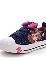 Girl's Sneakers Fall Leather Casual Flat Heel Buckle Black Blue Pink Other