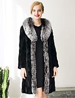 Женский На каждый день / Большие размеры Однотонный Пальто с мехом Лацкан с острым углом,Изысканный Осень / Зима Черный Длинный рукав,