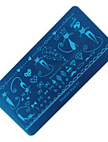 Cat DIY Blue Film Nail nNail Polish  Rectangular Plate