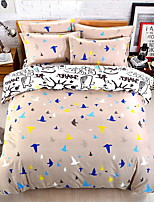 Bedtoppings Comforter Duvet Quilt Cover 4pcs Set Queen Size Flat Sheet Pillowcase Black White Pattern Prints Microfiber