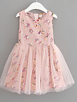 Girl's Going out Floral DressRayon Summer Pink