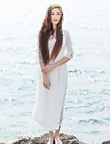 Ample Robe Femme Décontracté / Quotidien simple,Couleur Pleine Col en V Mi-long Manches ¾ Blanc Autres Eté Taille Normale Non Elastique