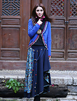 Our Story Going out Vintage Spring / Fall Cloak/CapesPaisley Sweetheart Long Sleeve Blue Cotton / Spandex Thin