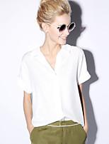 novo antes mulheres casuais rosa / diária simples blousesolid verão v manga curta no pescoço / poliéster branco opaco