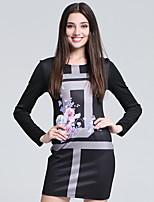 Damen Bodycon Kleid-Arbeit Einfach Druck Rundhalsausschnitt Mini Langarm Schwarz Baumwolle Herbst Hohe Hüfthöhe Mikro-elastisch Dünn