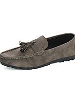 Men's Oxfords Fall / Winter Pointed Toe PU Casual Flat Heel Slip-on Black / Gray / Khaki Others
