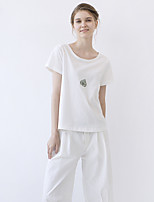 IDYLL ISLAND  Women's Casual/Daily Simple Fall T-shirtEmbroidered Round Neck Short Sleeve White Cotton / Spandex Thin