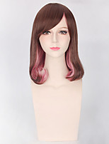 Brown Pink Mixed Color Women Synthetic Wigs Fashion Cosplay Wigs