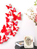 12PC The Butterfly 3 D Wall Stickers Bedroom Sweet Romance Creative Living Room Tv Setting Wall Stickers