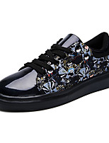 Men's Flats Spring Fall Fabric PU Outdoor Flat Heel Lace-up Blue Purple Black and White