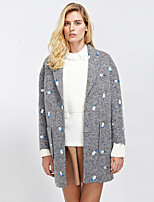 Women's Going out Street chic CoatEmbroidered Peaked Lapel Long Sleeve Winter Gray Wool / Acrylic / Polyester Thick