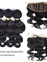 13x4'' Lace Frontal With Bundles Brazilian Body Wave 3 Bundles With Lace Frontal Bleached Knots with Baby Hair