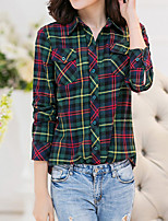 Women's Casual/Daily Vintage All Seasons ShirtPlaid Shirt Collar Long Sleeve Red / Green Polyester Medium