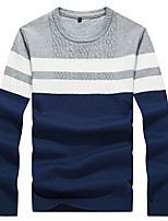 Men's Striped Casual / Work / Formal / Sport / Plus Size Pullover,Polyester Long Sleeve Black / Blue / Yellow
