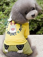 Dog Clothes/Jumpsuit Dog Clothes Winter Spring/Fall Cartoon Cute Holiday Fashion Yellow Green