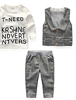 Boy's Casual/Daily Check Clothing SetCotton Summer / Spring / Fall Gray