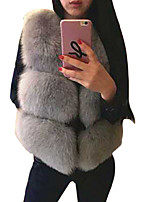 Women's Simple Fur CoatSolid Round Neck Sleeveless Winter Pink / Red / White / Black / Gray Faux Fur Opaque