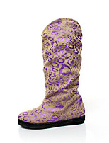 Women's Boots Winter Comfort / Round Toe PU Casual Flat Heel Others / Flower Purple Others