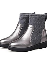 Women's Boots Spring Fall Winter Leather Outdoor Flat Heel Others Black Silver Other