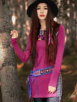 Tee-shirt Aux femmes,Broderie Sortie Chinoiserie Printemps / Automne Manches Longues Col Arrondi Rose Acrylique / Polyester / Spandex