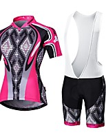 MALCIKLO® Cycling Jersey with Bib Shorts Women's / Men's Short Sleeve BikeBreathable / Quick Dry / Front Zipper / Wearable / High