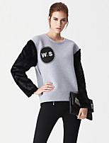 Women's Casual/Daily Simple HoodiesLetter Gray Round Neck Rayon / Polyester Spring / Fall Medium Micro-elastic