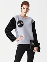 Damen Pullover Lässig/Alltäglich Einfach Buchstabe Rundhalsausschnitt Mikro-elastisch Kunstseide Polyester Langarm Frühling Herbst
