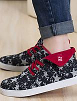 Черный / Синий / Серый-Мужской-Для прогулок-Полотно-На плоской подошве-Удобная обувь-Кеды