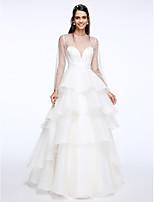 Lanting Bride® A-라인 웨딩 드레스 바닥 길이 쥬얼리 오간자 와 티어드